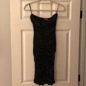 Slinky black satin dress